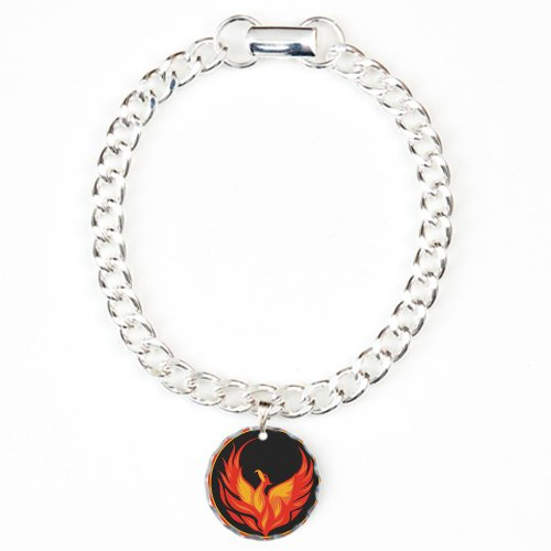 Cafepress Fire Bird Circle Design Charm Bracelet, One Charm - Standard Multi-Color