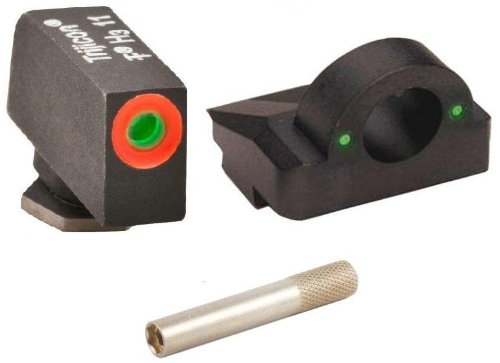 "Ultimate Arms Gear Pro 3 Dot Tactical Combat Target Glock Front And Rear Ghost Ring Sight Set With High Visibility Green Dot Trijicon Tritium With Orange Outline For Glock Pistol 17 19 22 23 24 26 27 33 34 35 37 38 39 + 1.5"" Front Sight Adjustment Stainle"