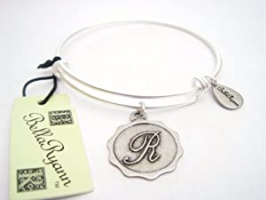 "Authentic Bella Ryann ""Letter R"" adjustable wire bangle russian silver"