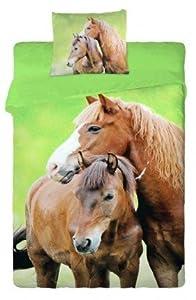 parure de lit housse de couette cheval chevaux poulain 100 coton cuisine maison. Black Bedroom Furniture Sets. Home Design Ideas