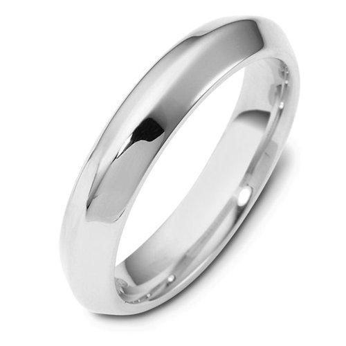 14K White Gold, Soft Knife Edge 4MM Wedding Band (sz 8)