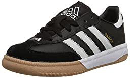 adidas Performance Samba M K Indoor Soccer Shoe (Little Kid/Big Kid),Black/White,5 M US Big Kid