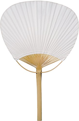 Luna Bazaar Hand-Held Paper Paddle Fan (14.5-Inch, White) - For Personal Use, Weddings, and Events