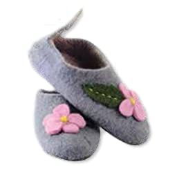 Earth Divas FT-28-L Stunning Felted Wool With Non-Toxic Dyes Flowers Design Medium Sized Slipper For Kids