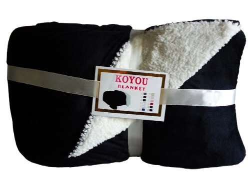 Koyou Super Soft Black Plush Sherpa Borrego Blanket Throw Queen Or Full Size Bed front-13325