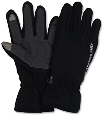 Timberland Men's Softshell Glove Logo Palm with Touchscreen, Black, Large