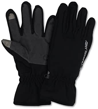 Timberland Men's Softshell Glove Logo Palm with Touchscreen, Black, Medium