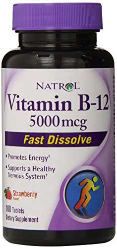 Natrol Vitamin B12 HFF Fast Dissolve Nutritional Supplements, Strawberry, 5000 mcg, 100 Count