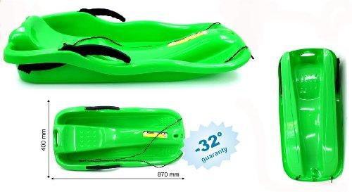 Schlitten Kinderschlitten Rodel Schneegleiter RACE Kunststoff Grün 2 Seitenbremsen