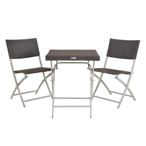 Balkonmöbel Set 3 tlg. Champagner/Rattan