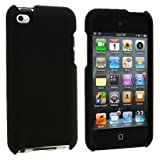 Premium Rubberized Snap-on Hard Crystal Front and Rear Case Cover for Apple iPod Touch 4G, 4th Generation, 4th Gen - Black compatible with 8GB / 32GB / 64GB (Color: Black)