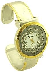 Geneva Women's Flower Bangle Watch with Rhinestone silver tone and gold tone - 1
