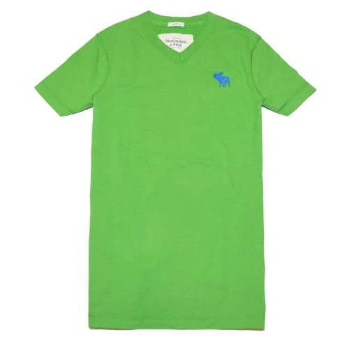 e9af86a5 Abercrombie & Fitch Men Moose Logo Short Sleeve V Neck T Shirt (S, Green) at  Men s Clothing store