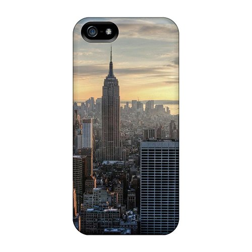 Iphone 5/5S Hard Back With Bumper Silicone Gel Tpu Case Cover Aerial View Of The Empire State Building front-739086