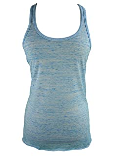 YogaColors Womens Emoticon Flowy Scoop Neck Tank Top (Large, Speckled Blue)
