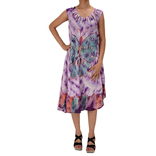 Skirts & Scarves Rayon Butterfly Caftan Tie N Dye Embroidered Sleeveless Dress For Women (Purple)