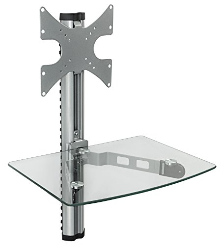 Mount-It! MI-814C Floating Wall Mounted Shelf and TV Wall Mount Bracket Stand for AV Receiver, Component, Cable Box, Playstation4, Xbox1, VCR Player, Blue Ray DVD Player, VESA 100 and 200 Compatible, Load Capacity 88 lbs, Single Shelf (Silver) (Wall Mounted Tv Brackets compare prices)