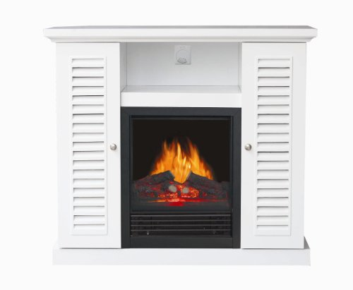 Stonegate® White Louvered Entertainment Center Electric Fireplace