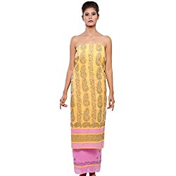 BDS Chikan Women's Cotton Dress Material With Lucknow Chikan Work BDS00079_ Mango Yellow and pink cantrast_Free Size