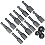 (12) Magnetic Socket Nut Setters Construction Tools - Bit Accessory Set for Your Dewalt and Makita Cordless Drill
