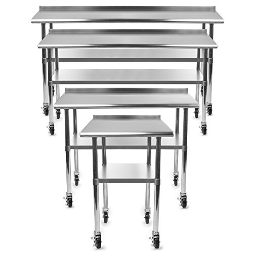 Gridmann NSF Stainless Steel Commercial Kitchen Prep & Work Table w/ Backsplash Plus 4 Casters (Wheels) - 30 in. x 72 in. (Kitchen Service Table compare prices)