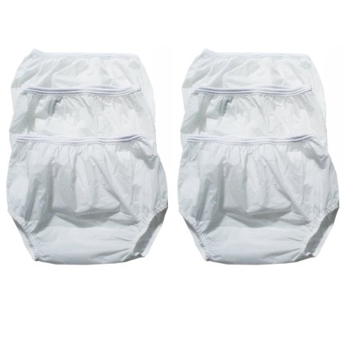 Dappi Waterproof 100% Vinyl Diaper Pants, White, Extra Large - 6 Pack