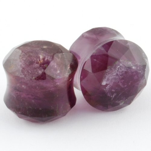 Pair of Amethyst Diamond Cut Faceted Plugs: 1/2