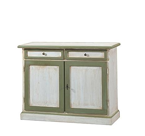 Credenza in legno finitura cerato bianco e verde, con 2 porte e 2 cassetti 105x85