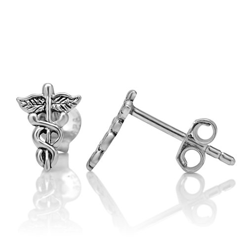 925 Sterling Silver Caduceus Astrological and Medical Symbol Post Stud Earrings 10 mm Jewelry for Women, Men, Teens - Nickel Free