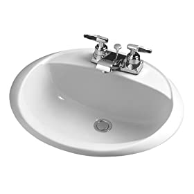 Crane Plumbing Sonnet Vitreous China Centerset Drop-In Lavatory Sink #1287V