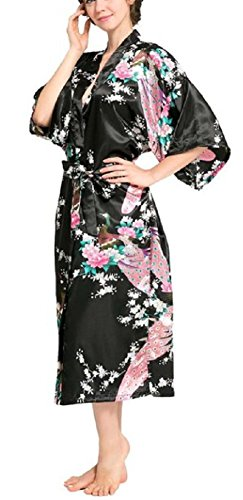 SexyTown Women's Long Floral Peacock Kimono Robe Satin Nightwear With Pockets X-Large Black (Extra Long Nightshirts compare prices)