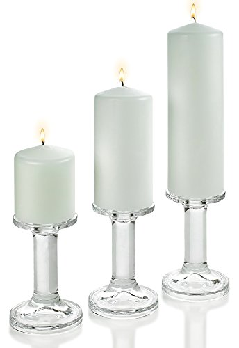 """3 Glass Round Shaped Candle Holders 5.5"""" with Set of 3 White Pillar Candles 3x3"""" 3x6"""" 3x9"""""""