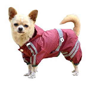 PETSOO Puppy Dog Pets Cool PVC Reflective Stripe Outdoor Raincoat Rain Jacket-Red-XXL