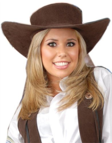 Women's Deluxe Brown Suede Costume Accessory Cowgirl Hat