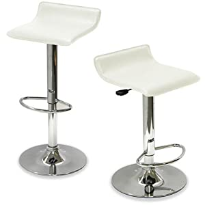 King's Brand 9009W Air Lift Adjustable Bar Stool with Vinyl Seat, White and Chrome Finish,... by King's Brand