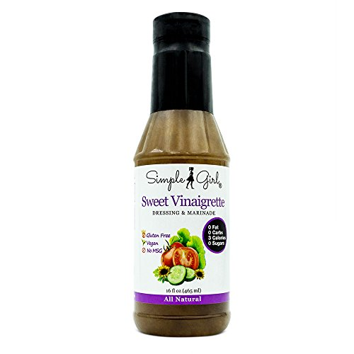 Simple Girl Sweet Vinaigrette Salad Dressing 16oz - Sugar Free - Diabetic Friendly - Vegan - Carb/Gluten/Fat Free - Low Calorie Diet Friendly (Hcg Tomato Sauce compare prices)