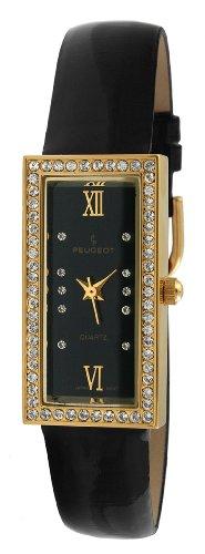 Peugeot Women's PQ8840-NE Gold-Tone Swarovski Crystal Accented Black Leather Strap Watch