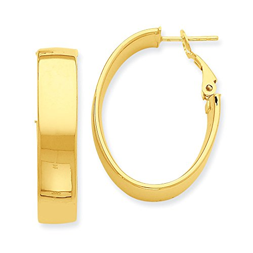 Oval Hoop Earrings In 14Kt Yellow Gold - Omega Back - Mirror Polish - Radiant