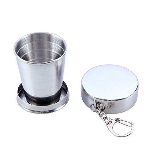 Mychampion Stainless Steel Telescopic Collapsible Shot Glass Cup With Key Ring(75ml)