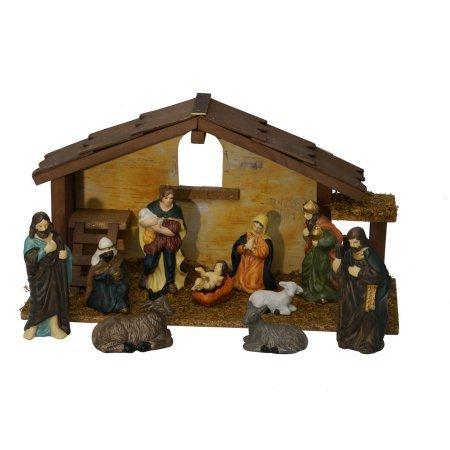 12 Pieces Comp Nativity Set Christmas Decor 11 Piece Porcelain Figurines 1 Wooden Stable With