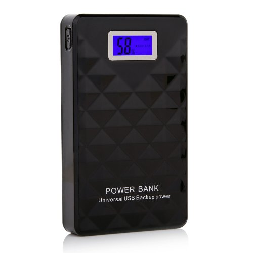 Andream 15000Mah Dual Usb Portable Charger Ultra-High Density External Battery Pack For Ipad Air, Mini, Iphone 5S, 5C, 5, 4S, Galaxy S5, S4, S3, Note 3, Nexus 4, 5, 7, 10, Htc One, One 2 (M8), Motorola Droid, Lg Optimus, Moto X And More- Black