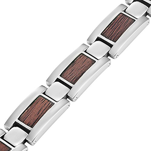 Willis Judd Mens Titanium Magnetic Bracelet With Wooden Inserts Free Link Removal Tool and gift box