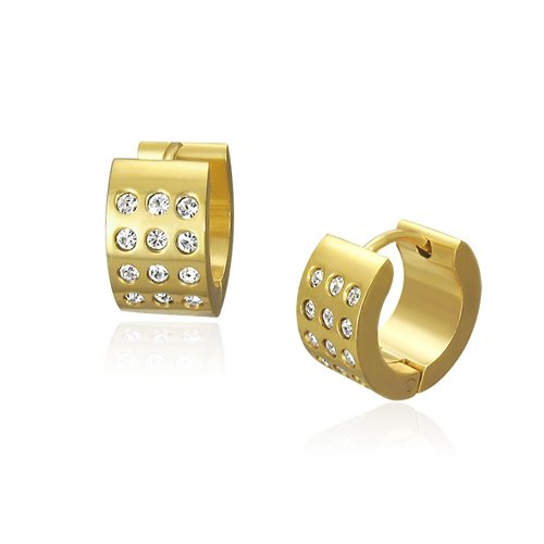 Bling Jewelry Gold CZ Stainless Steel Mens Hoop Earrings