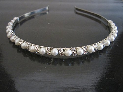 Elegant Wedding Bridal Silver Crystal Rhinestone Pearl Headband Hair Band