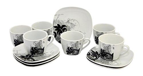 Van Well - Set di 6 tazzine da caffè, con piattino, motivo floreale nero