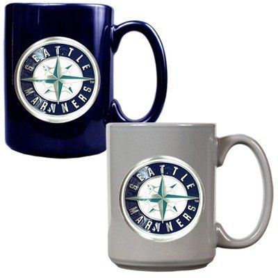 MLB Seattle Mariners Two Piece Ceramic Mug Set - Primary Logo at Amazon.com