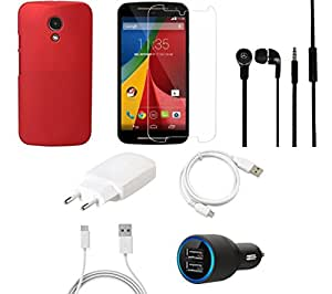 NIROSHA Tempered Glass Screen Guard Cover Case Charger Headphone USB Cable for Motorola G2 - Combo