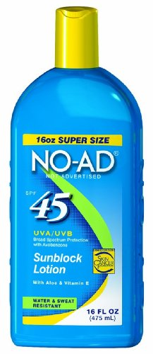 No-Ad Sunscreen Lotion Spf 45 -- 16 Fl Oz (Pack Of 2)