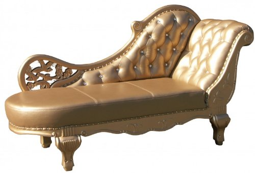 Barock Chaiselongue Antik Gold / Echt Leder Chaise Lonque