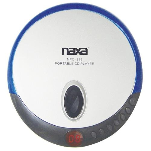 Naxa NPC-319 Slim Personal Compact Disc Player with Stereo Earphones, CD & CD-R Compatible, 2 Way Power, Programmable Track Memory, LCD Display, Blue